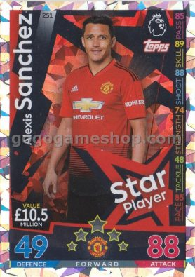 Topps Match Attax Premier League Trading Card - Alexis Sanchez Silver Card