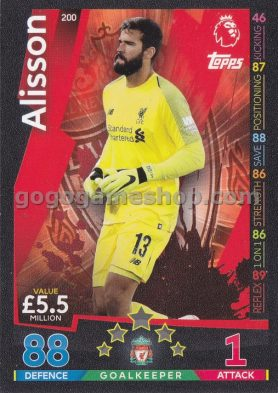 Topps Match Attax Premier League Trading Card - Alisson
