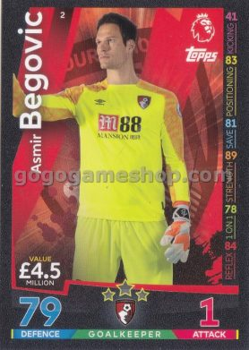 Topps Match Attax Premier League Trading Card - Asmir Begovic