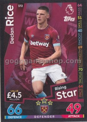 Topps Match Attax Premier League Trading Card - Declan Rice