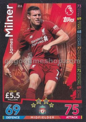 Topps Match Attax Premier League Trading Card - James Milner