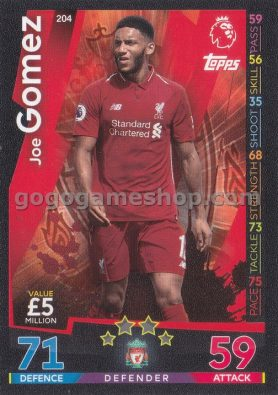 Topps Match Attax Premier League Trading Card - Joe Gomez